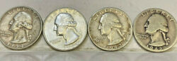 United States 4 X Quarters 1942d 1942p 1954 1964 .very Scarce Vf To Unc