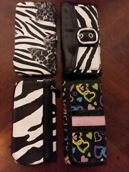 Fashion Clutch Wallets Assorted Leopard Cheetah Hearts Used Lot of 4 $8.25