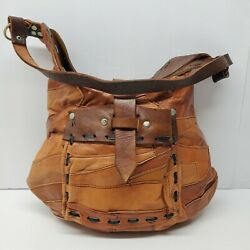 Handmade Lightweight Leather Satchel Purse Brown Hobo Hippie Boho $25.49