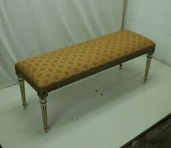 Fantastic Carved Italian Window/ Bedroom Bench With Patterned Upholstery