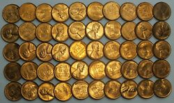 1939-p 1c Cent Lincoln Wheat Full Roll 50 Coins +tube Uncirculated Lg279