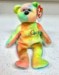 Very Rare Ty Peace Beanie Baby With Number Dob, Tag Errors, Nurnberg Pvc Pellets