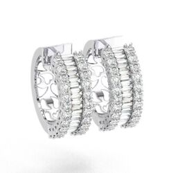 2.50carat Round And Baguette Cut Diamonds Hoop Earring In 18k White Gold