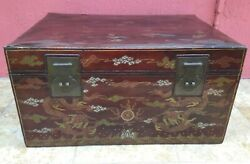 Late 19th C. Chinese Hand Painted Vellum Leather Trunk