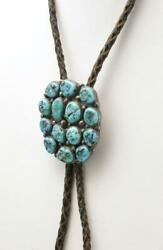 Vintage Turquoise 14 Nugget Bolo Sterling Silver Native American Artisan Signed