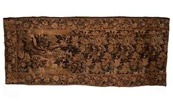 Antique C1900 French Floral Jacquard Vintage Tapestry Wall Hanging | 287x121 Cm