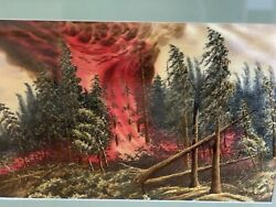 Vintage Japanese Silk Embroidery After The Forest Fire Painting Frame 1950's
