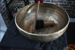 18 Large Hand Hammered Bowl With Buddhas Feet And Stotras And Om Etched
