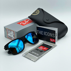 Ray Ban Justin RB4165 622 55 54mm Matte Black Blue Mirror Polarized Sunglasses $64.87