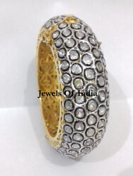 Victorian Jewelry Natural Uncut Diamond Polki And 925 Sterling Silver Bangle