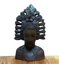 Indonesian Woman Teak Wood Carved Bust Antique Figurine Statue