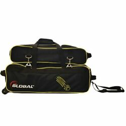 900 Global 3 Ball Airline Tote Black/gold Claw With Shoe Pouch Bowling Bag