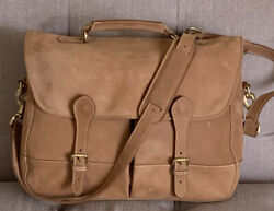 MULHOLLAND TAN LEATHER MESSENGER LAPTOP BAG HANDMADE IN USA GREAT CONDITION $225.00