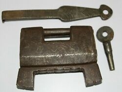 Antique Iron Rare Trick Puzzle Padlock With 2 Keys Barbed Spring And Screw Key