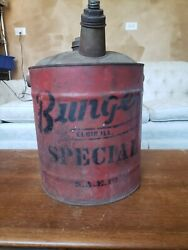 Vintage Bunge's Special 5 Gallon Oil Can With Handle