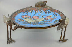19th Century French Centerpiece Made Of Bronze And French Cloisonne With Scenery