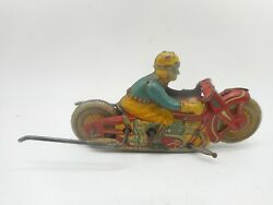Rare Vintage Japan Tin Litho Windup Rollover Motorcycle Stunt Trick Toy