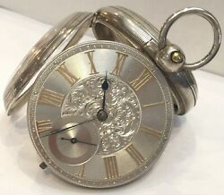 Antique Silver Dial Fusee Pocket Watch By J. Flinn And Sons 1873