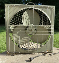 """Vintage 22"""" Lau Portable Electric Fan Turquoise/green Metal 3-speed"""