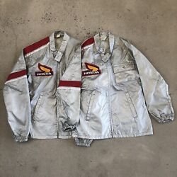 Vintage 1970s Honda Shop Jackets Motorcycle Racing Wings Patch Rare Lot Of 2