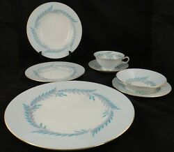 94 Piece Minton Malta Blue S564 China Set W/ Turquoise And Gray Leaves
