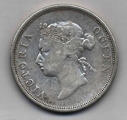 1890 H Rare Km13 Straits Settlements Malaysia Victoria Silver Coin Fifty Cents