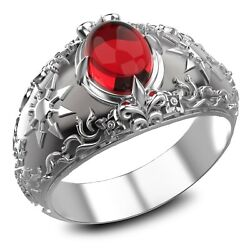 Garnet Chaos Magic 8 Pointed Star Mens Ring 925 Sterling Silver Size 6-15