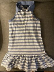 Ralph Laruen Girls Striped Sleeveless Blue White Summer Dress Size 6