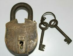 Antique Brass Rare Trick Puzzle Padlock With 2 Keys Both Side Keyhole