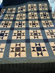 Amish Hand Stitched Ohio Star Block Quiltbrand New King Size Red White Blues