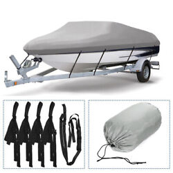 100 Waterproof Boat Cover Trailerable Fishing Ski Bass V-hull Runabouts 11-22ft