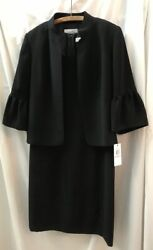 CALVIN Women#x27;s Size 10 Black 2 Piece Sleeveless Dress Set W Jacket NWT $320 $229.99
