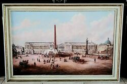 Antique Vtg Oil Painting Architectural Cityscape Rome Italy 1800s Street Scene