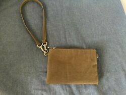Baggallini Coin Purse Wristlet ID Case Brown w Blue lining $7.00