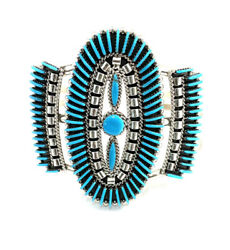 Native American Sterling Silver Zuni Needle Point Turquoise Cuff Bracelet
