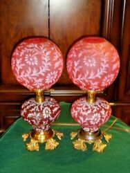 Fenton L.g.wright Satin Glass Daisy And Fern Cranberry Gwtw Lamp, Extremely Rare