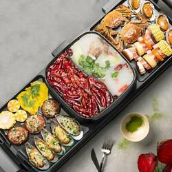 Multifunctional 3 Grid Electric Grill Hot Pot Bbq Frying Grill Barbecue Machines