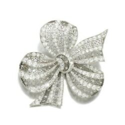 925 Sterling Silver Tiny White Round Cz Handmade Bow Net Brooch Pin Wedding Gift