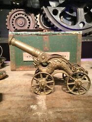 Large Heavy Vintage Cast Brass Ornamental Cannon. Winged Dragons. Beautiful