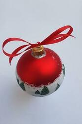 Xmas Village House Ornament Red Hand Painted Glass Xmas Tree Bauble Custom