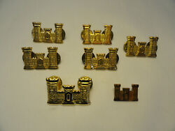 7pc Us Army Military Engineer Corps Officer's Castle Collar Insignia Pins T4-4