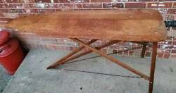 Antique Vintage Wooden Ironing Board Folding Table Primitive 54x14.5