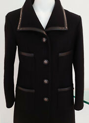 100auth Collectorandrsquos Cashmere Leather Trim Coat Jacket New Must See