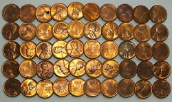 1949-d 1c Cent Lincoln Wheat Full Roll 50 Coins + Tube Uncirculated - Lg293