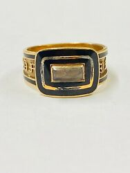 Antique 18ct Yellow Gold 1822 Mourning Ring With Hair Under Original Glass