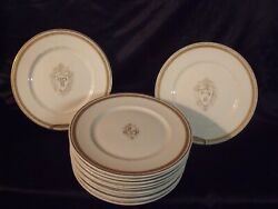 12 Antique Lamberton Scammell Gilt Edge 'pp' In Crested Shield Plates Rare