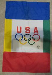 Vintage Usa Olympic Team Flag Pennant Banner 24x37 Official Licensed 2-sided