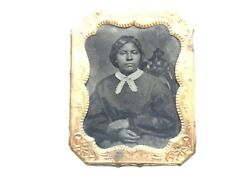 Xxx Rare Early 1800's Tintype African American Lady Beautiful Photo Gold Frame