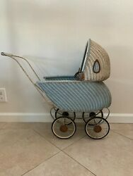Vintage Victorian Wicker Baby Or Doll Carriage And Stroller With Adjustable Canopy