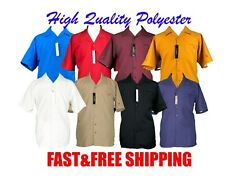 Menand039s Big And Tall 2pc Walking Suit Short Sleeve Casual Shirt And Pants Set Solid